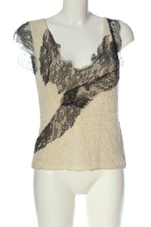 Catherine Malandrino Crochet Sweater cream cable stitch casual look