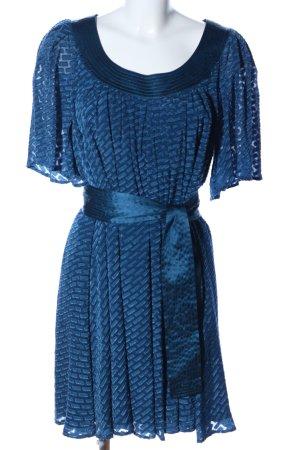 Catherine Malandrino Robe à volants bleu imprimé allover style transparent