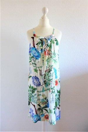 Catsdeco Kleid Boho Sommer floral Blume weiß blau grün Gr. S 36/38 neu