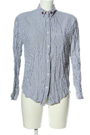CATWALK JUNKIE Hemd-Bluse hellgrau-weiß Schriftzug gestickt Business-Look