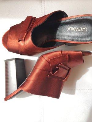Catwalk Zomerschoenen met hak roodbruin-bruin