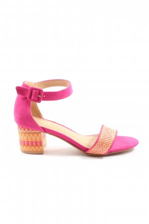 Catwalk Strapped High-Heeled Sandals pink weave pattern casual look