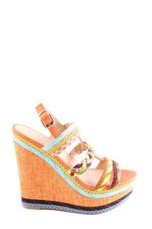 Catwalk Sandalias tipo cuña naranja claro-amarillo pálido look casual