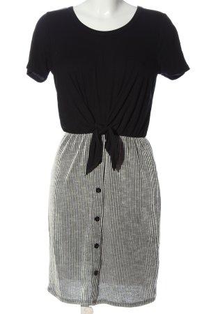 Caution to the wind Shortsleeve Dress black-light grey striped pattern