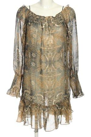 Cavalli for H&M Blusenkleid braun-hellgrau abstraktes Muster Elegant