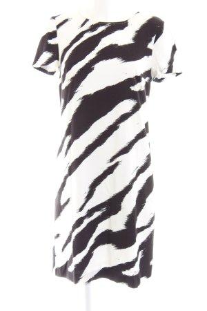 Cavalli Kurzarmkleid weiß-schwarz Allover-Druck Casual-Look