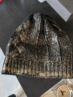 Cavalli Cappello in tessuto nero-oro