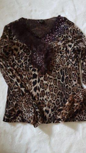 Just cavalli V-hals shirt zwart-bruin