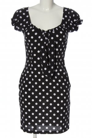 CBR Sukienka z krótkim rękawem czarny-biały Na całej powierzchni