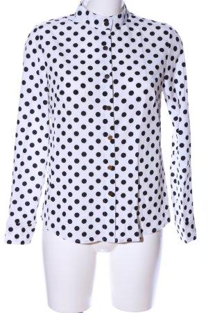 CBR Langarm-Bluse weiß-schwarz Allover-Druck Business-Look