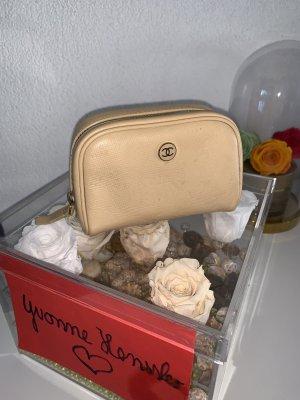 CC Chanel Button beige Leder Kosmetiktasche beige caviar cosmeticpouch bag