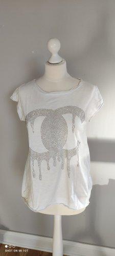 T-shirt biały-złoto