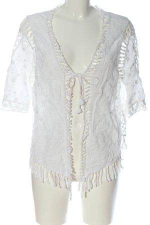 CC Fashion Veste chemisier blanc imprimé allover style décontracté