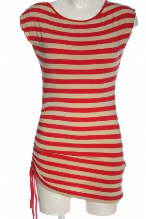 CCDK Long Shirt natural white-red striped pattern elegant