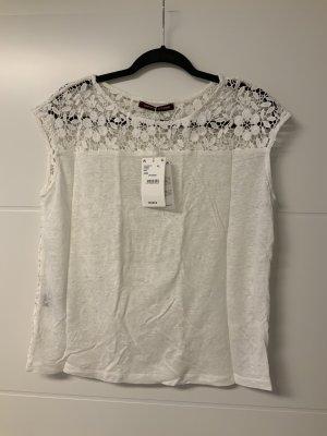 Comptoir des Cotonniers Koronkowy top w kolorze białej wełny