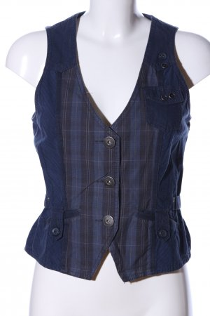 Cecil Biker Vest blue-silver-colored check pattern casual look