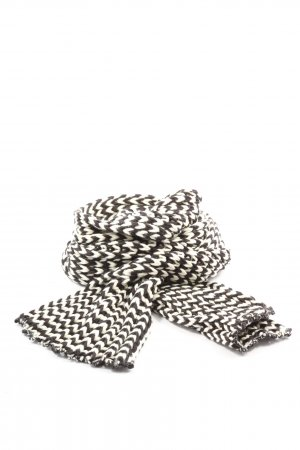 Cecil Crochet Scarf black-white striped pattern casual look