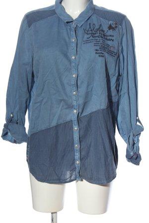 Cecil Hemd-Bluse blau Schriftzug gestickt Casual-Look