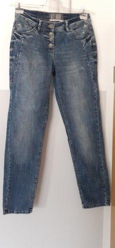 Cecil Jeansy z prostymi nogawkami niebieski Bawełna