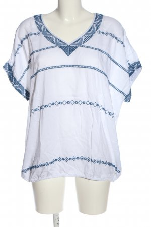 Cecil Kurzarm-Bluse weiß-blau grafisches Muster Casual-Look