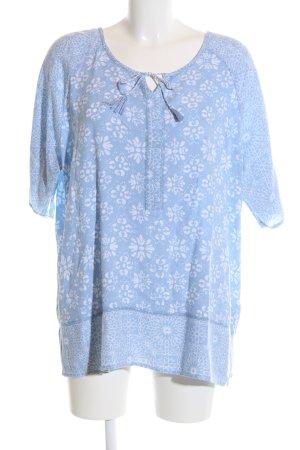Cecil Kurzarm-Bluse blau-weiß Allover-Druck Casual-Look