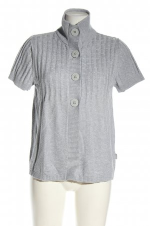 Cecil Short Sleeve Knitted Jacket light grey striped pattern casual look