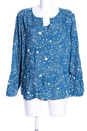 Cecil Langarm-Bluse blau-weiß Allover-Druck Casual-Look