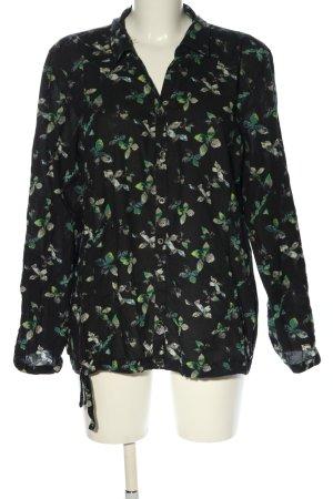 Cecil Langarm-Bluse schwarz-grün Allover-Druck Casual-Look
