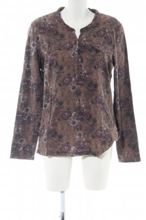 Cecil Langarm-Bluse braun-lila abstraktes Muster Casual-Look