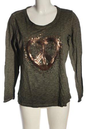 Cecil Langarm-Bluse khaki-bronzefarben meliert Casual-Look