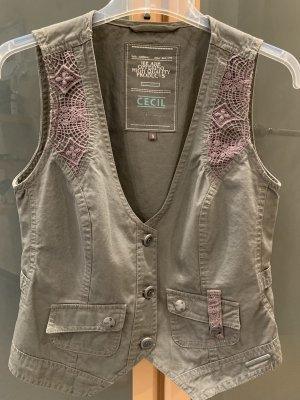 Cecil Gilet en jean kaki-chameau coton