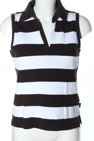Cecil Polo Top weiß-schwarz Streifenmuster Casual-Look