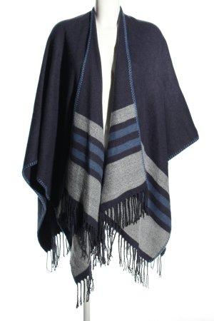 Cecil Poncho blu-grigio chiaro motivo a righe stile casual