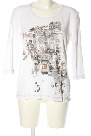 Cecil T-shirt imprimé blanc-gris clair imprimé avec thème style décontracté
