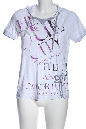 Cecil Print-Shirt weiß-pink Schriftzug gedruckt Casual-Look