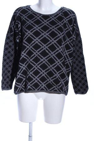 Cecil Crewneck Sweater black-light grey check pattern casual look