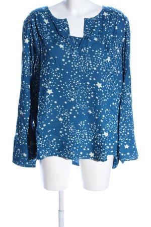 Cecil Schlupf-Bluse blau-weiß Allover-Druck Casual-Look