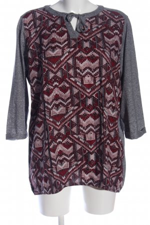 Cecil Schlupf-Bluse hellgrau-rot grafisches Muster Casual-Look