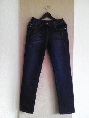 Cecil Slim Fit Jeans in marineblau, Paillettenstickerei am Hosentaschen, Größe INCH 28, neu