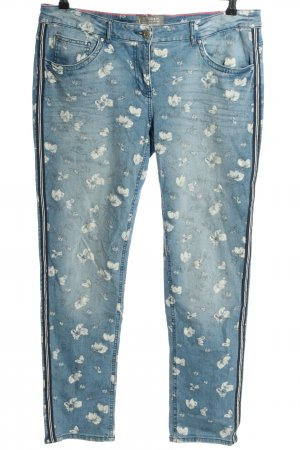 Cecil Slim Jeans blau-weiß Blumenmuster Casual-Look