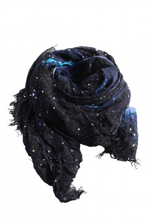 Cecil Sommerschal blau-weiß Punktemuster Casual-Look