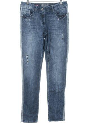 Cecil Jeansy z prostymi nogawkami stalowy niebieski Logo wykonane ze skóry