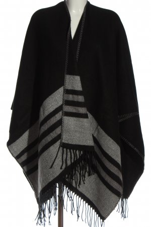 Cecil Knitted Poncho black-light grey striped pattern casual look
