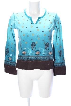 Cecil Sweatshirt türkis-schwarz abstraktes Muster Casual-Look
