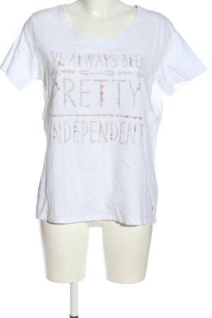 Cecil T-Shirt weiß Schriftzug gedruckt Casual-Look