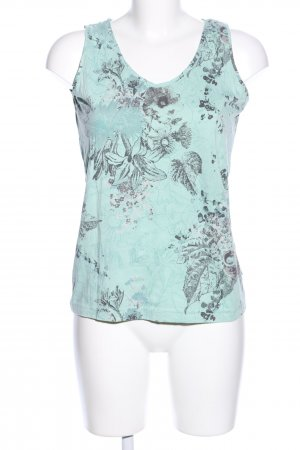 Cecil Tank Top turquoise-black flower pattern casual look