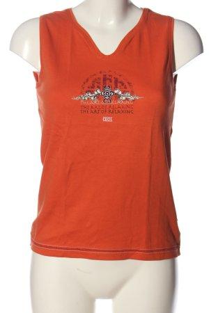 Cecil Tanktop licht Oranje prints met een thema casual uitstraling