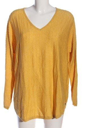 Cecil V-Ausschnitt-Pullover blassgelb Streifenmuster Casual-Look