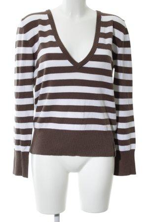 Cecil V-Ausschnitt-Pullover braun-weiß Streifenmuster Casual-Look