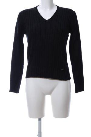 Cecil V-Ausschnitt-Pullover schwarz Streifenmuster Business-Look